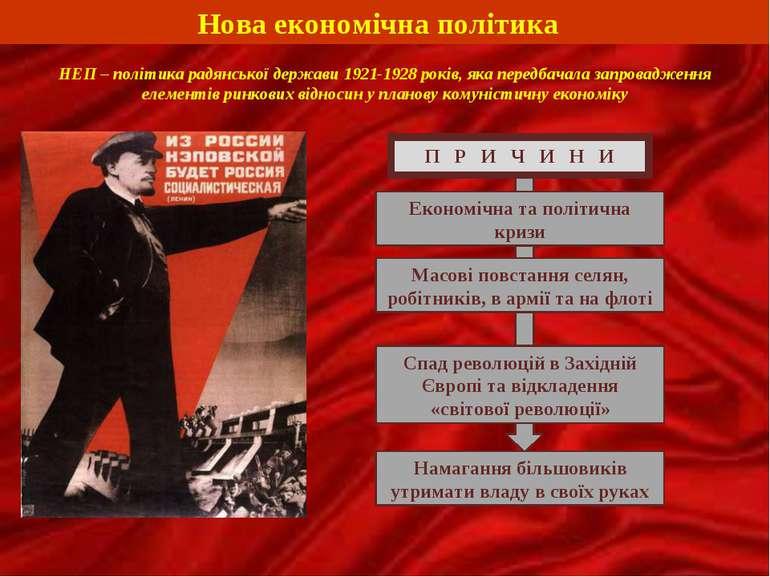 Нова економічна політика НЕП – політика радянської держави 1921-1928 років, я...