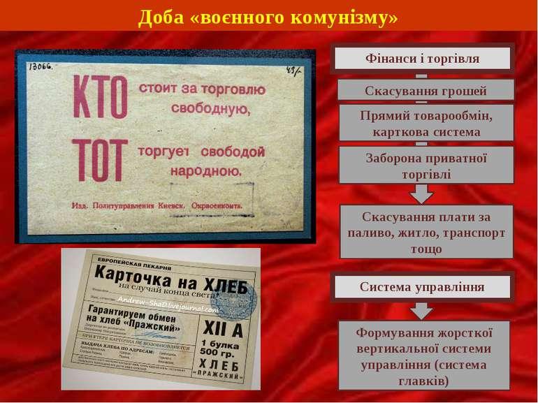 Доба «воєнного комунізму» Фінанси і торгівля Скасування грошей Прямий товароо...