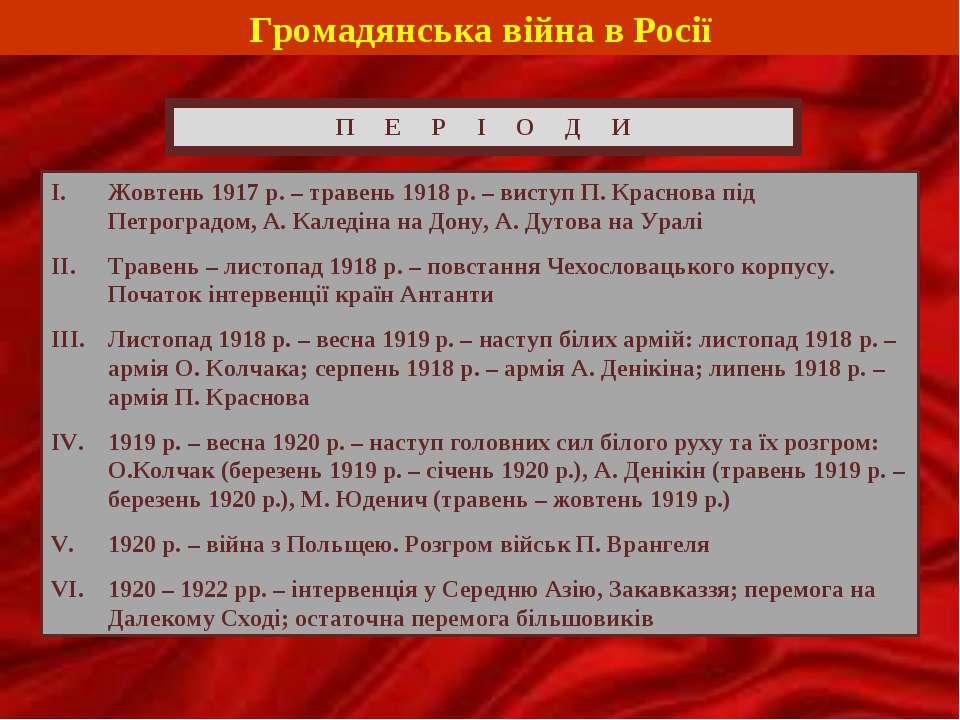 Громадянська війна в Росії П Е Р І О Д И Жовтень 1917 р. – травень 1918 р. – ...