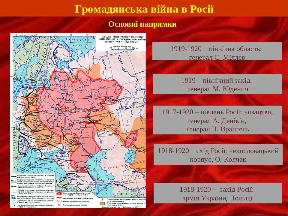 Громадянська війна в Росії Основні напрямки 1919-1920 – північна область: ген...