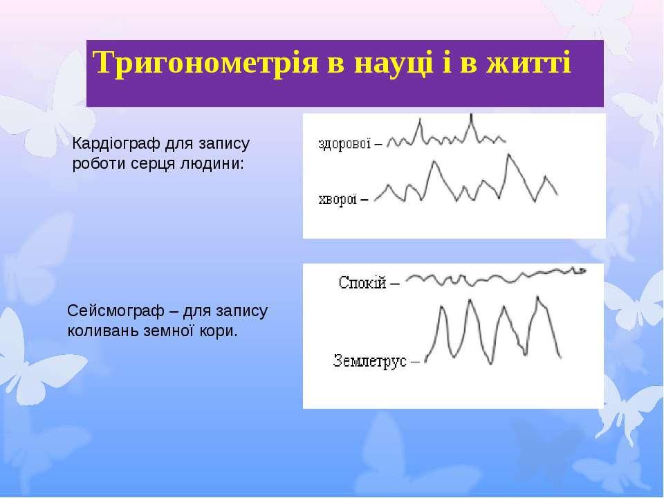 Сейсмограф – для запису коливань земної кори. Кардіограф для запису роботи се...
