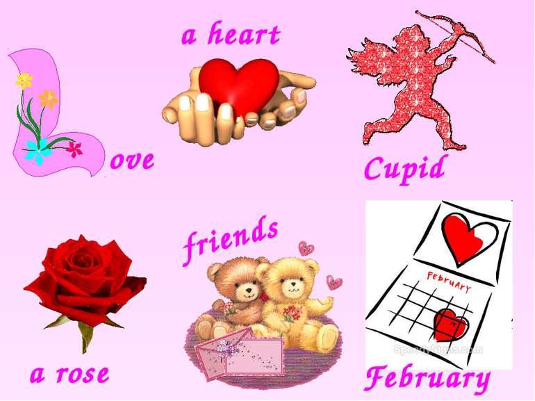 Cupid a rose February ove a heart friends