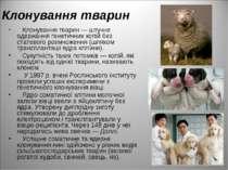 Клонування тварин Клонування тварин — штучне одержання генетичних копій без с...