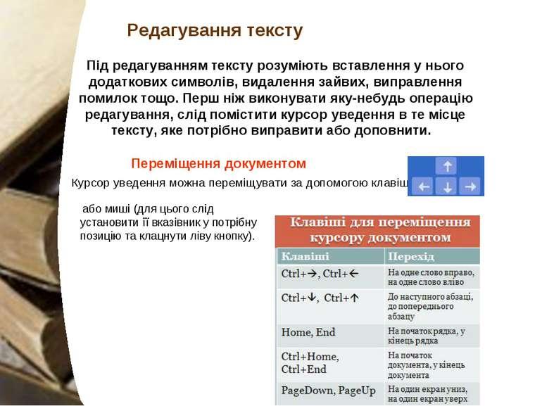 Курсор уведення можна переміщувати за допомогою клавіш або миші (для цього с...