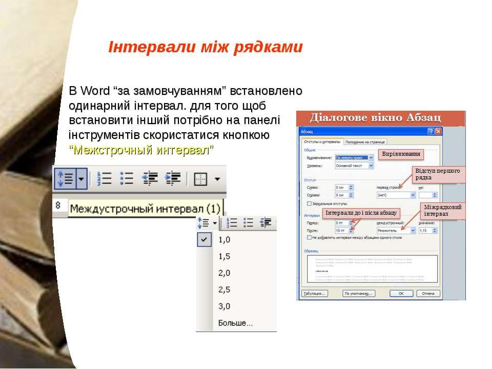 """Інтервали між рядками В Word """"за замовчуванням"""" встановлено одинарний інтерва..."""