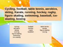 Cycling, football, table tennis, aerobics, skiing, Karate, running, hockey, r...
