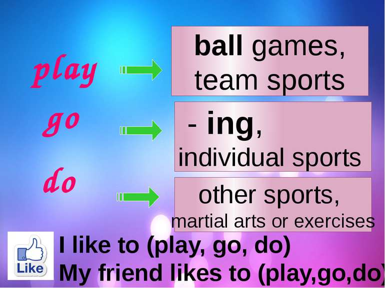 play go do ball games, team sports - ing, individual sports other sports, mar...