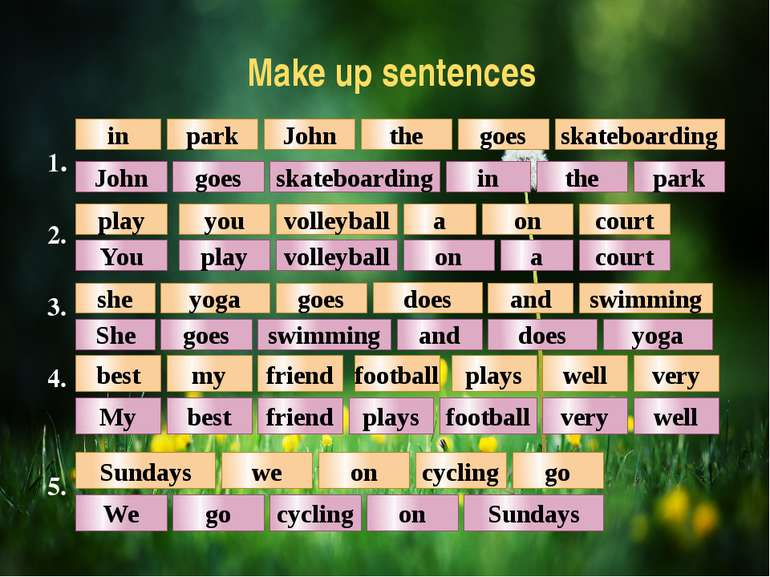 Make up sentences 1. 2. 3. 4. 5. in park park John the goes skateboarding in ...