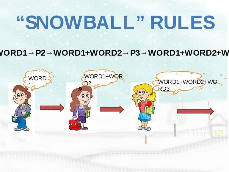 """SNOWBALL"" RULES P1→WORD1→P2→WORD1+WORD2→P3→WORD1+WORD2+WORD3 WORD1 WORD1+WOR..."