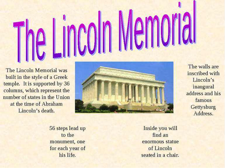The Lincoln Memorial was built in the style of a Greek temple. It is supporte...