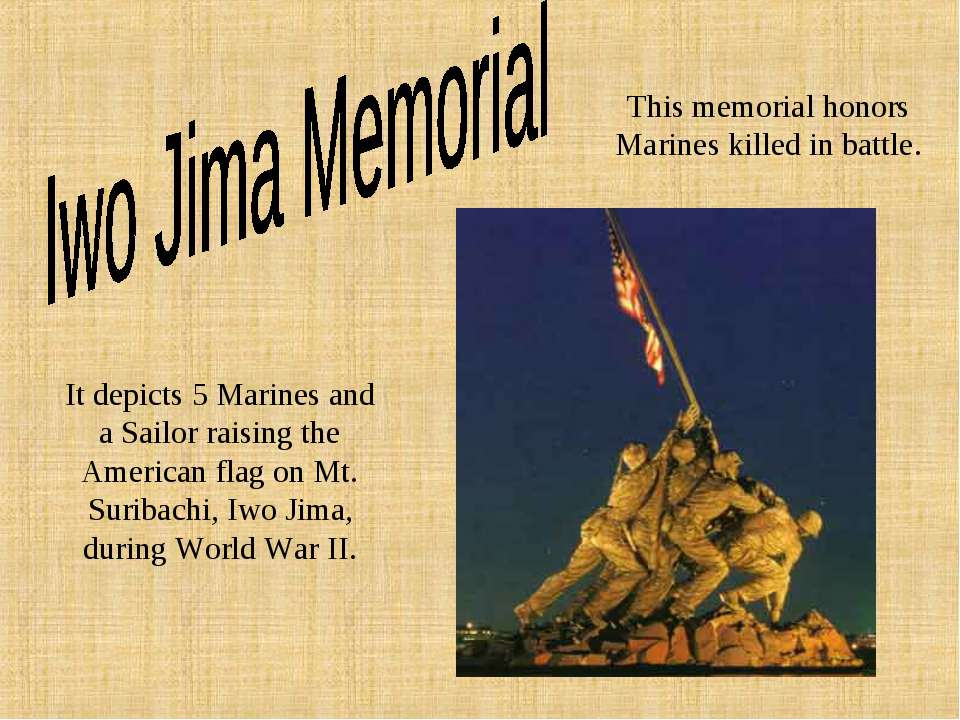 This memorial honors Marines killed in battle. It depicts 5 Marines and a Sai...