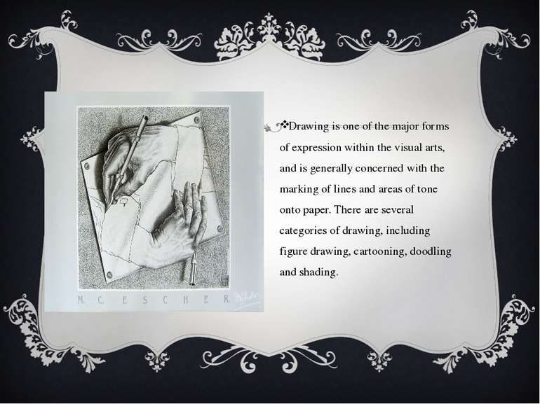 Drawing is one of the major forms of expression within the visual arts, and i...