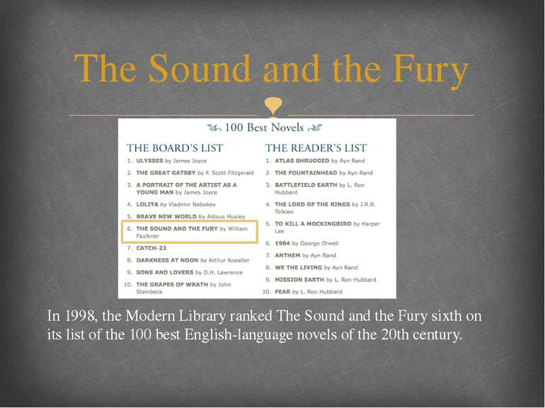 In 1998, the Modern Library ranked The Sound and the Fury sixth on its list o...