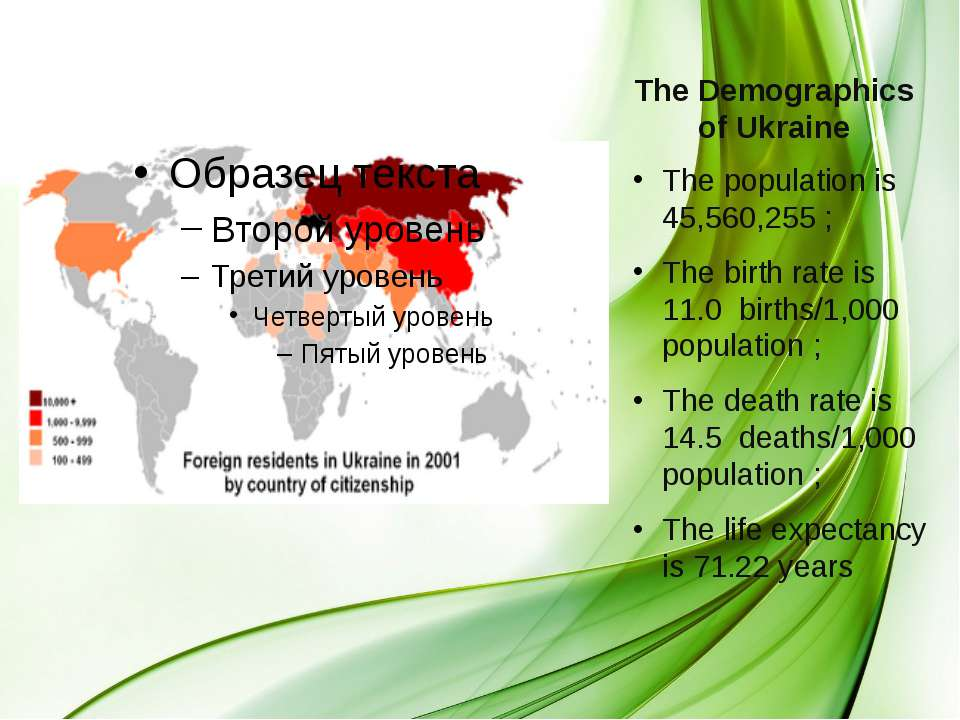 The Demographics of Ukraine The population is 45,560,255 ; The birth rate is ...