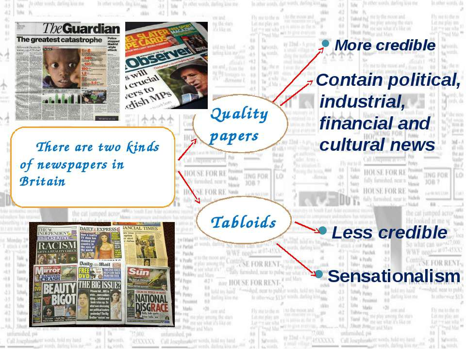 There are two kinds of newspapers in Britain Quality papers Tabloids More cre...