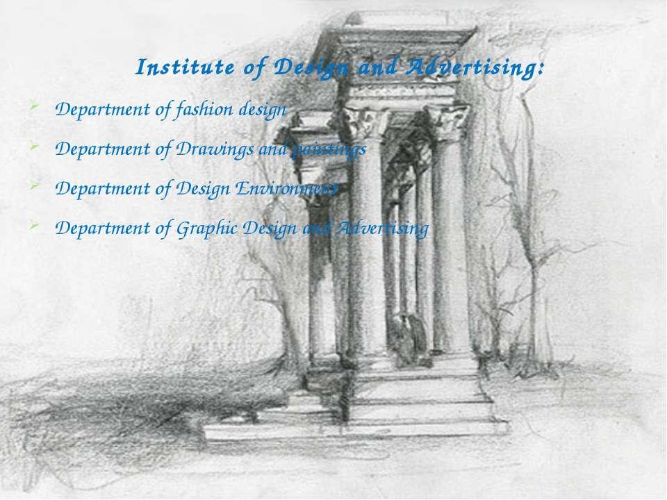 Institute of Design and Advertising: Department of fashion design Department ...