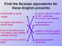 Find the Russian equivalents for these English proverbs Good health is above ...