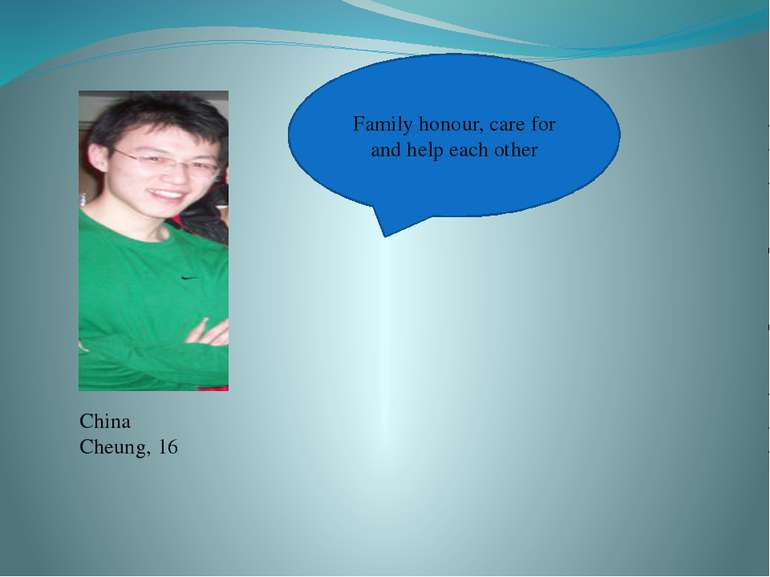 China Cheung, 16 Family honour, care for and help each other