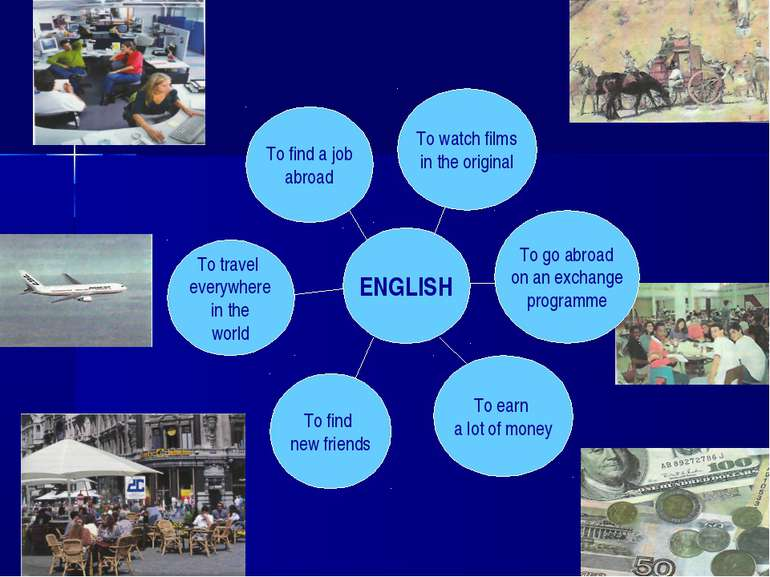 ENGLISH To find new friends To earn a lot of money To watch films in the orig...