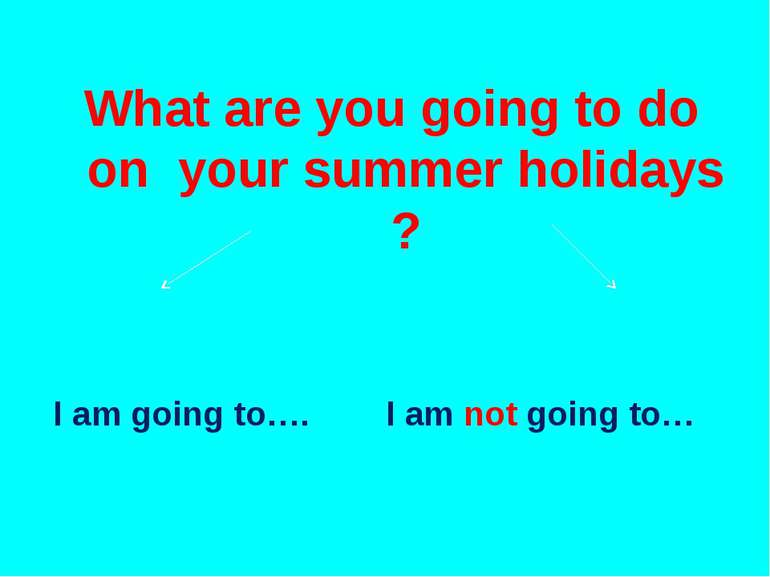 What are you going to do on your summer holidays ? I am going to…. I am not g...