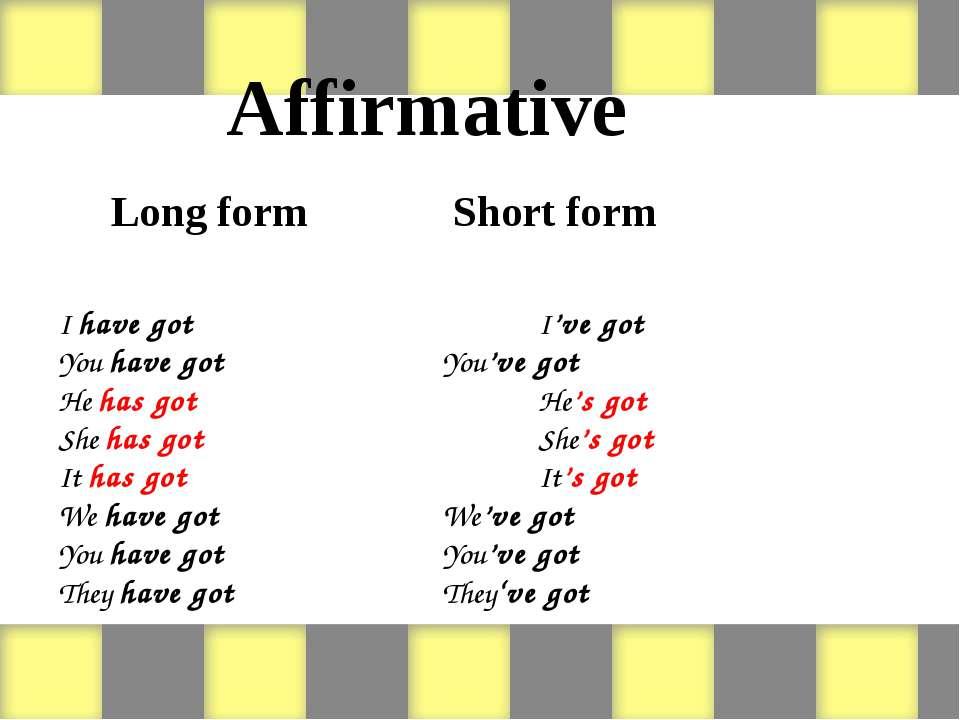 Affirmative Long form Short form I have got I've got You have got You've got ...