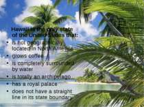 Hawaii is the only state of the United States that: is not geographically loc...
