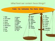 What food can contain these things? 1. Eggs 2. Sour cream 3. Honey 4. Beans 5...