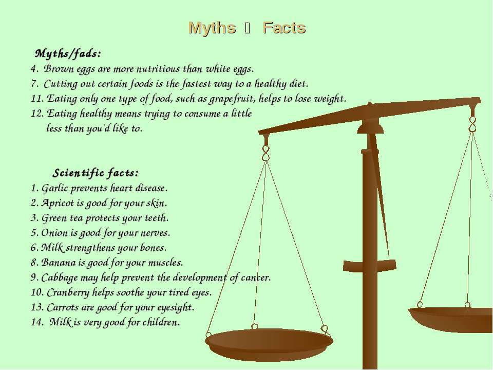 Myths Facts Myths/fads: 4. Brown eggs are more nutritious than white eggs. 7....