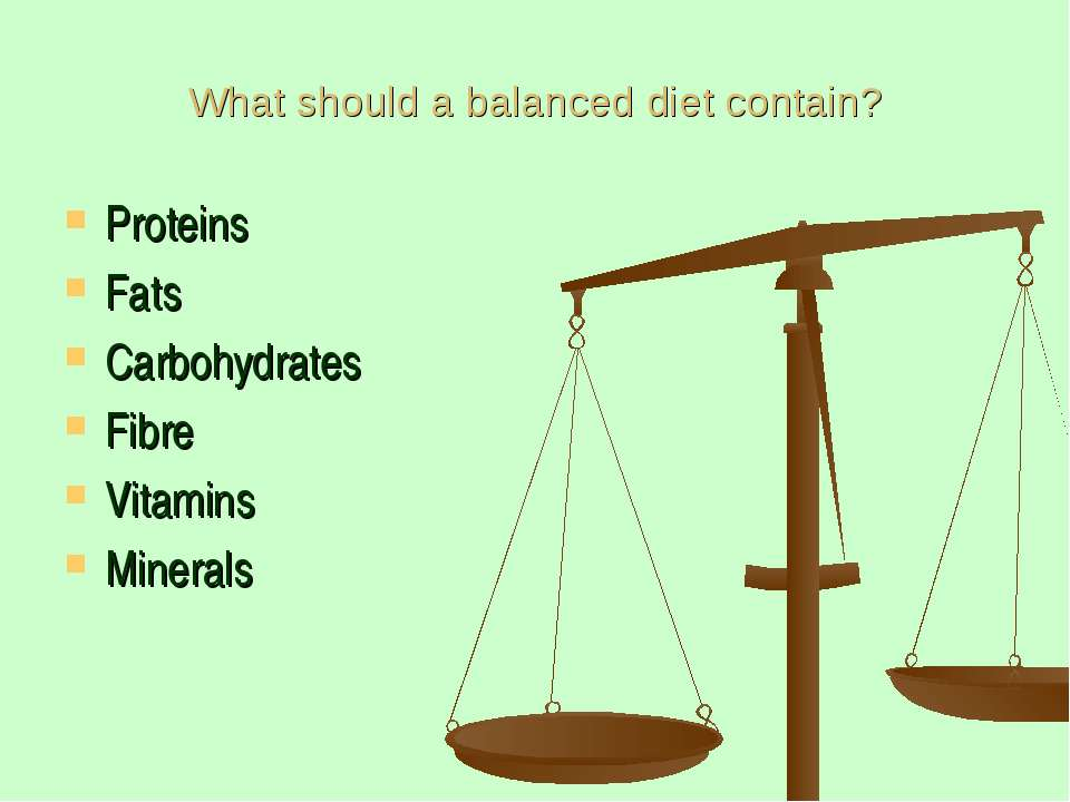 What should a balanced diet contain? Proteins Fats Carbohydrates Fibre Vitami...