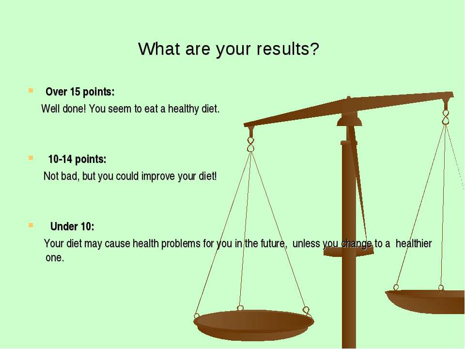 What are your results? Over 15 points: Well done! You seem to eat a healthy d...