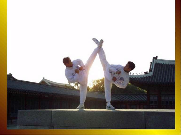 A taekwondo student typically wears a uniform (dobok), often white but someti...