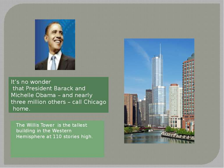 The Willis Tower is the tallest building in the Western Hemisphere at 110 sto...