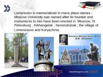 www.themegallery.com Lomonosov is memorialized in many place names - Moscow U...