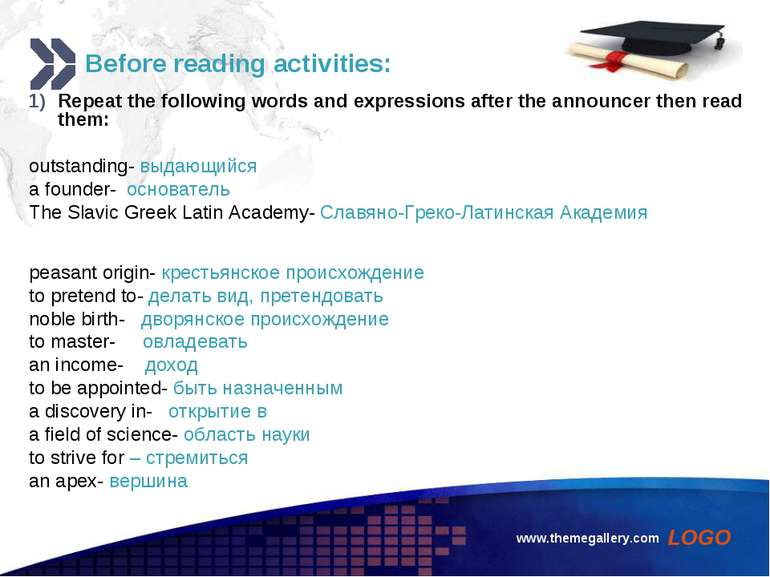 www.themegallery.com Before reading activities: Repeat the following words an...