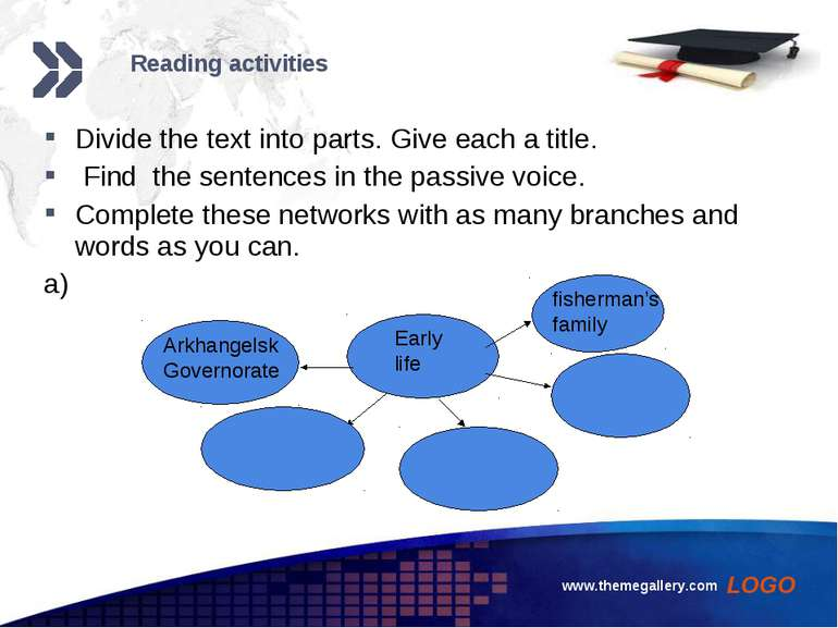 www.themegallery.com Reading activities Divide the text into parts. Give each...