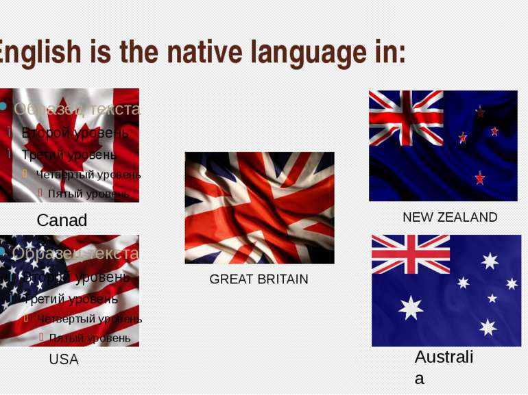 English is the native language in: NEW ZEALAND GREAT BRITAIN Australia Canada...