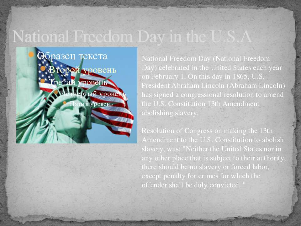 National Freedom Day in the U.S.A National Freedom Day (National Freedom Day)...