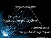Екзистенціалізм Релігійний Атеїстичний Марсель, Ясперс, Бердяєв Сартр, Хайдег...