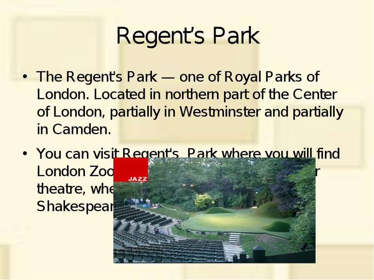 Regent's Park The Regent's Park — one of Royal Parks of London. Located in no...