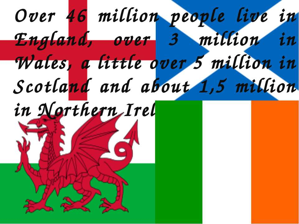 Over 46 million people live in England, over 3 million in Wales, a little ove...