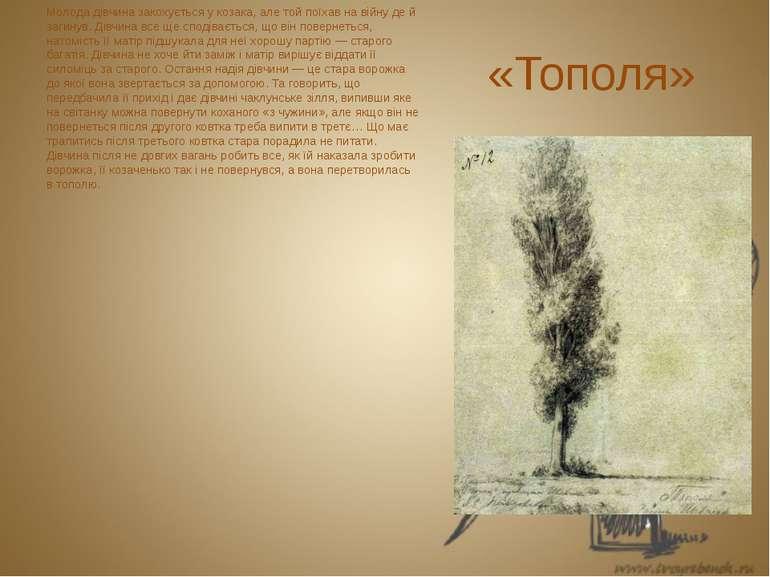 «Тополя» Молода дівчина закохується у козака, але той поїхав на війну де й за...