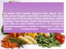 Всі основні групи харчових продуктів (овочі, фрукти, м'ясо, риба, молочні про...