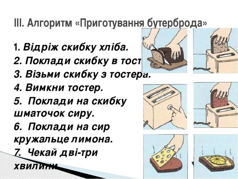 1. Відріж скибку хліба. 2. Поклади скибку в тостер. 3. Візьми скибку з тостер...