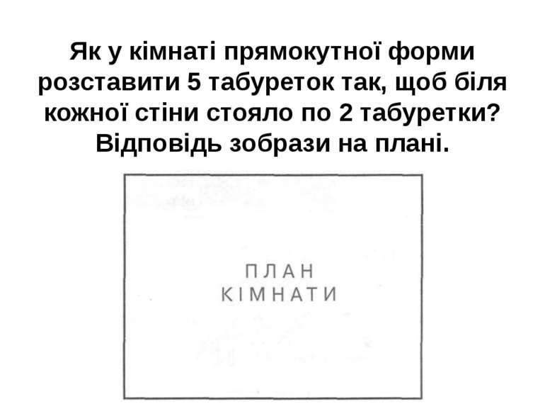 Як у кімнаті прямокутної форми розставити 5 табуреток так, щоб біля кожної ст...