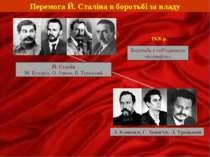 Перемога Й. Сталіна в боротьбі за владу Й. Сталін М. Бухарін, О. Риков, В. То...