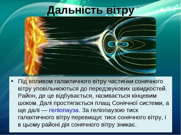 Дальність вітру Під впливом галактичного вітру частинки сонячного вітру упові...
