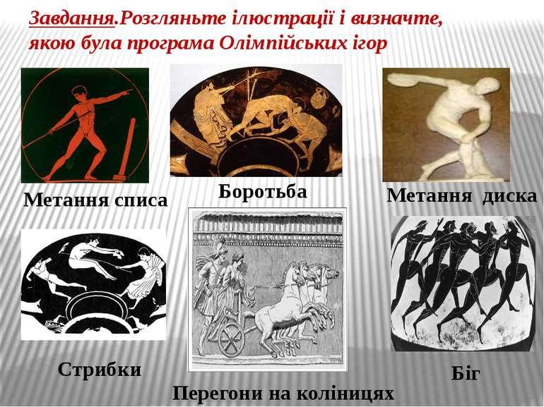 Завдання.Розгляньте ілюстрації і визначте, якою була програма Олімпійських іг...