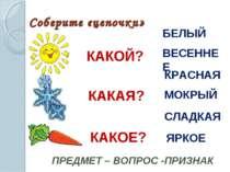 Соберите «цепочки» КАКОЙ? ПРЕДМЕТ – ВОПРОС -ПРИЗНАК КАКАЯ? КАКОЕ? БЕЛЫЙ ВЕСЕН...