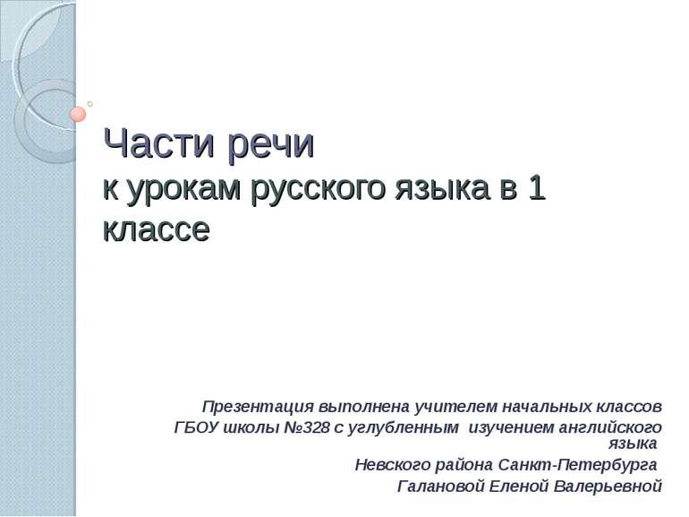 Части речи к урокам русского языка в 1 классе Презентация выполнена учителем ...