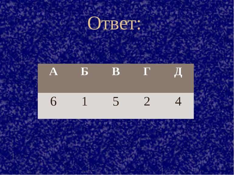 Ответ: А Б В Г Д 6 1 5 2 4